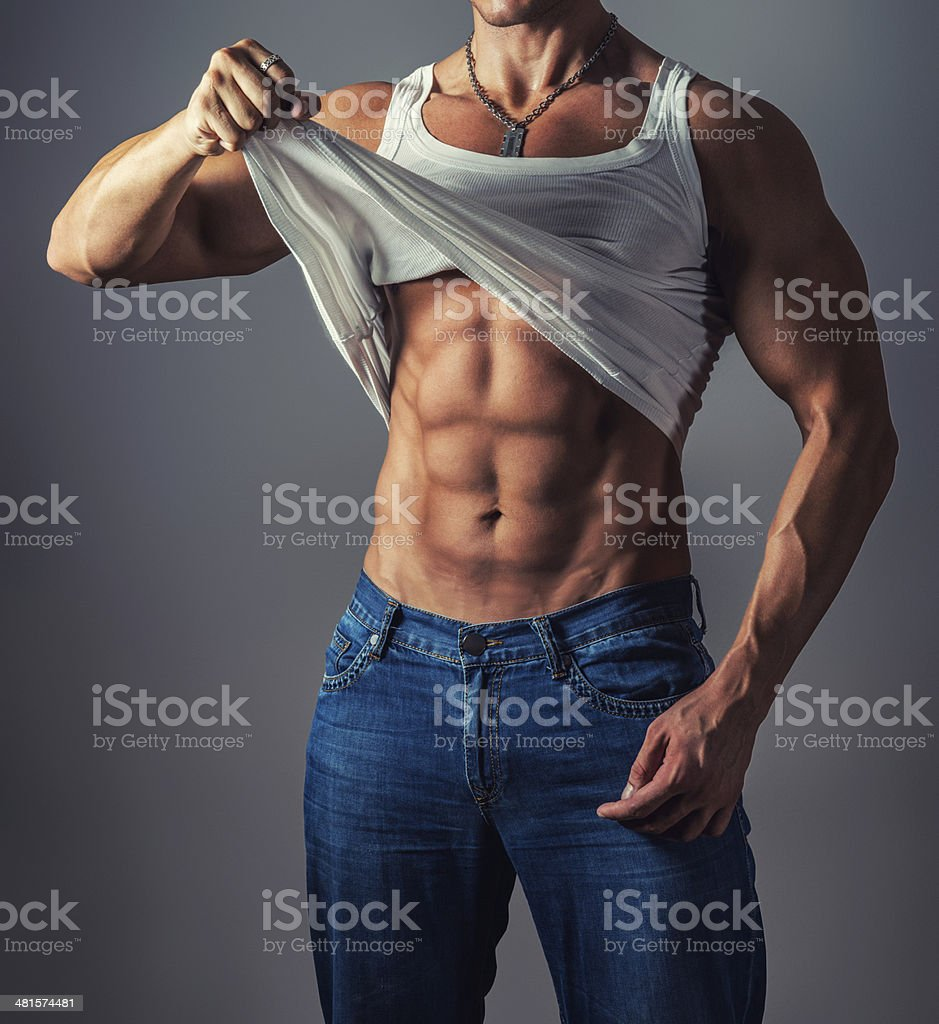 Handsome Muscular Male Showing his Muscles royalty-free stock photo