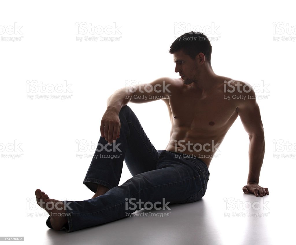 Handsome muscular man in jeans. royalty-free stock photo