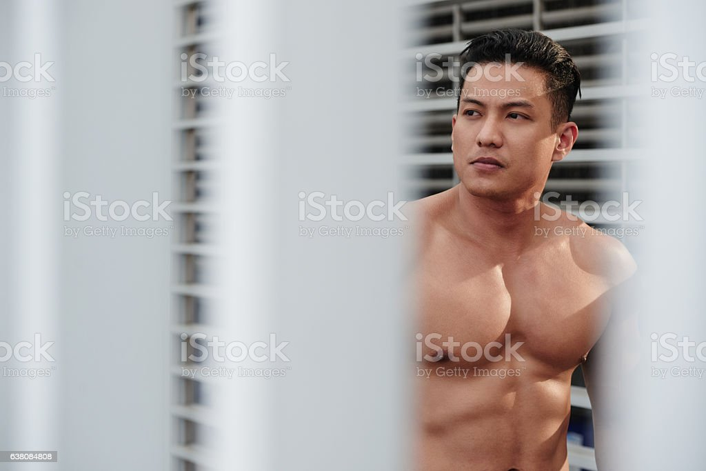Handsome muscular man stock photo