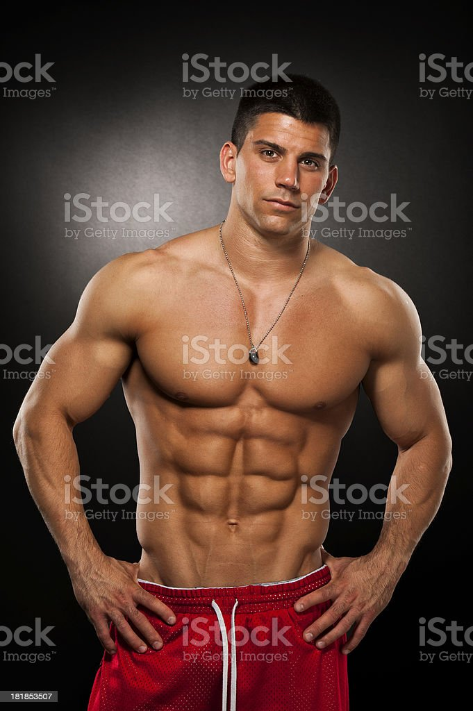 Handsome Muscular Man With No Shirt And Red Pants Stock Photo More