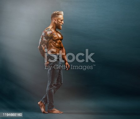 Handsome Muscular Shirtless Men In Jeans Posing