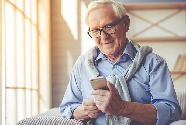 Handsome old man at home – Foto