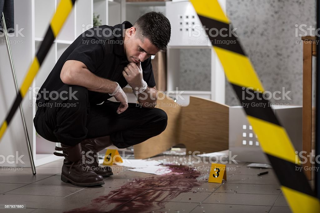 Handsome policeman during work stock photo