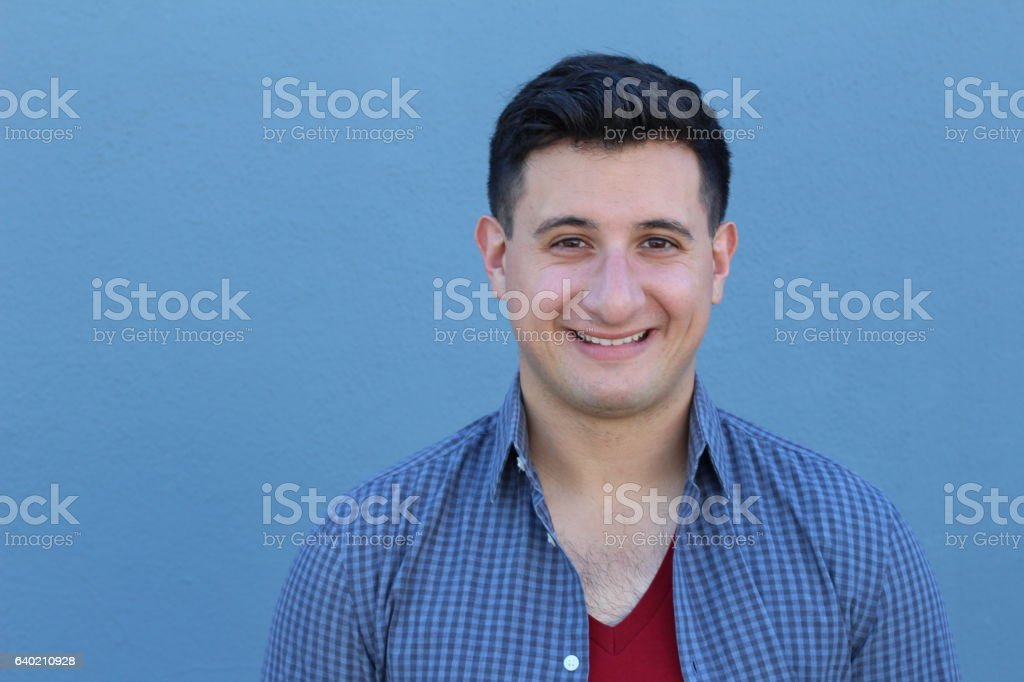 Handsome real looking man smiling stock photo