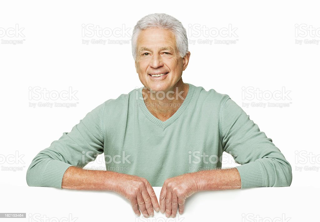 Handsome Senior Man Leaning Over Wall-Isolated royalty-free stock photo