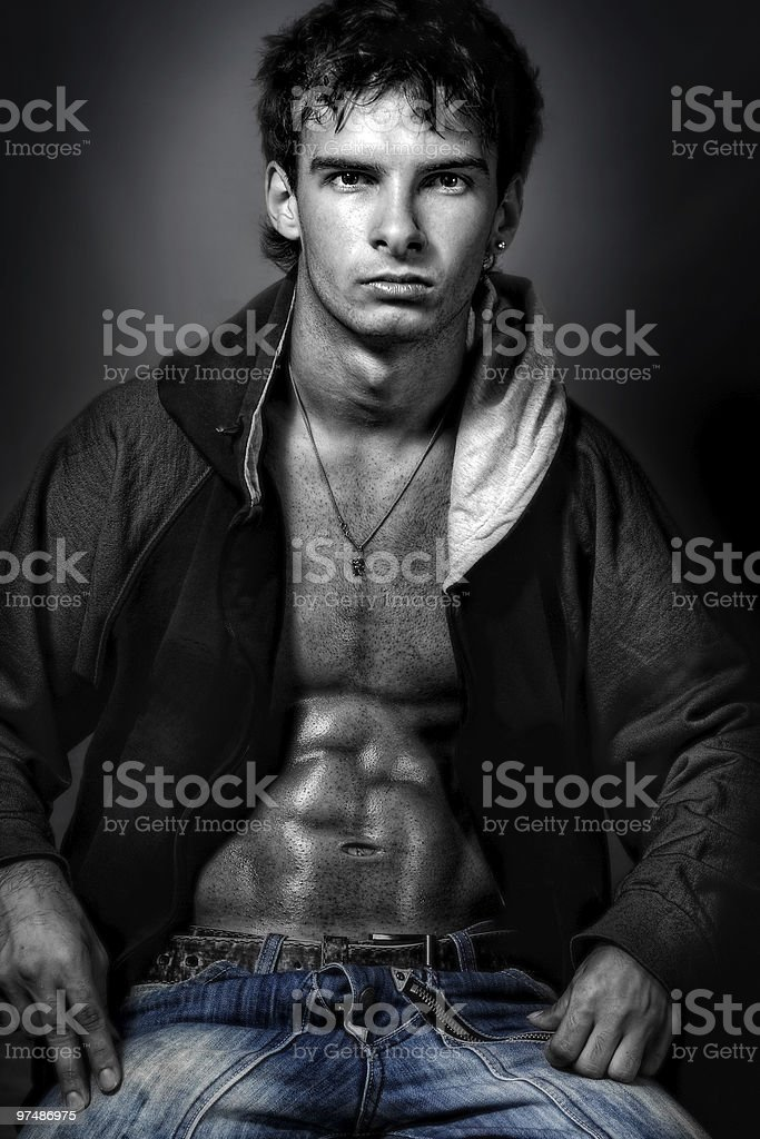 Handsome sexy man with muscular abdomen royalty-free stock photo