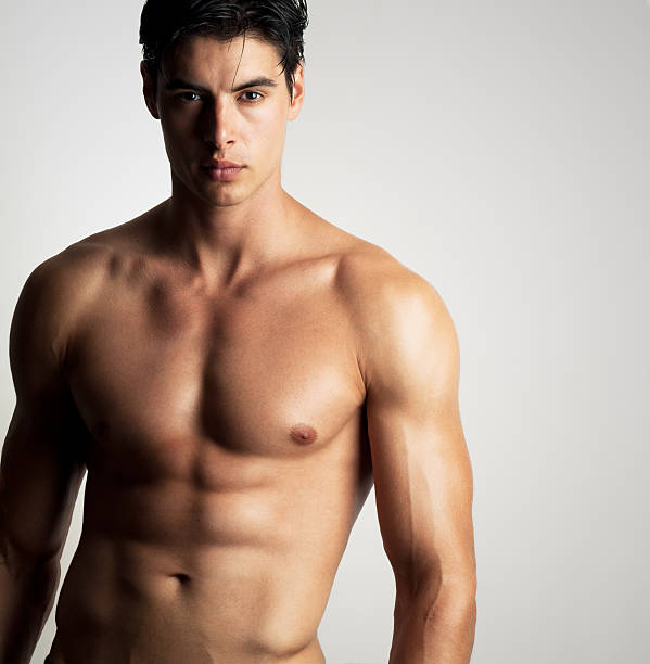 handsome shirtless man portrait of a handsome shirtless man posing shirtless male models stock pictures, royalty-free photos & images