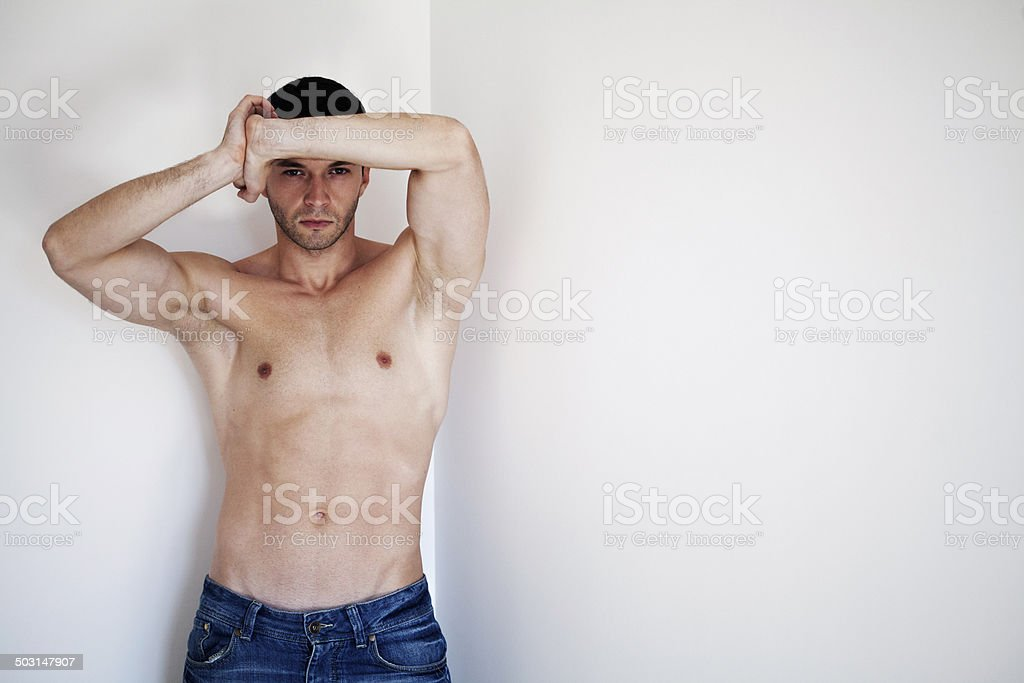 handsome shirtless model royalty-free stock photo