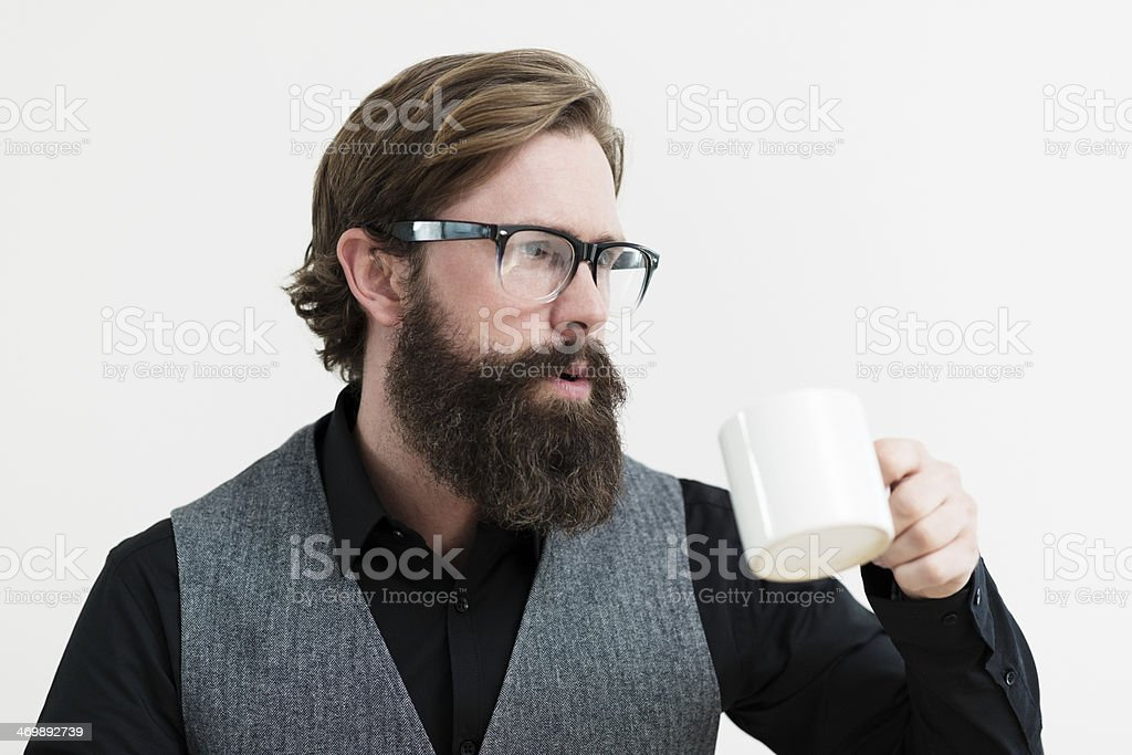 Handsome Smart Man drinking coffee royalty-free stock photo