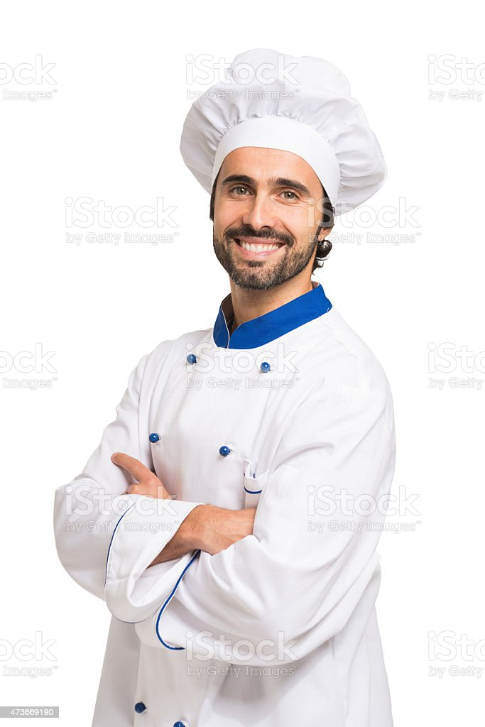 Handsome  smiling chef portrait stock photo
