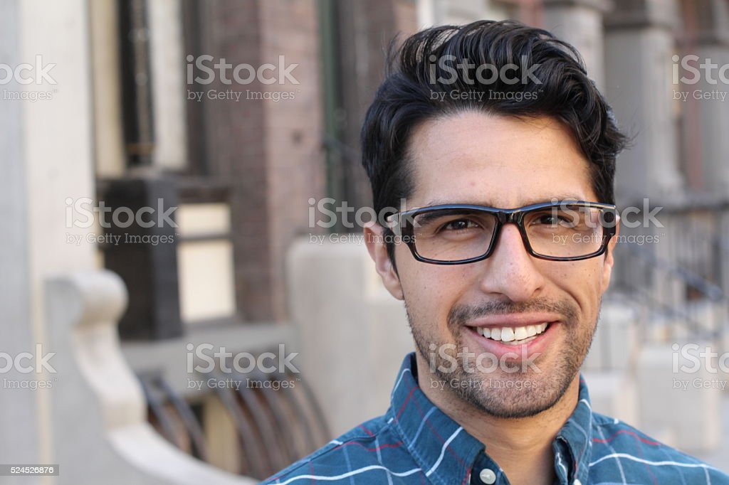 Handsome smiling confident man portrait with copyspace stock photo