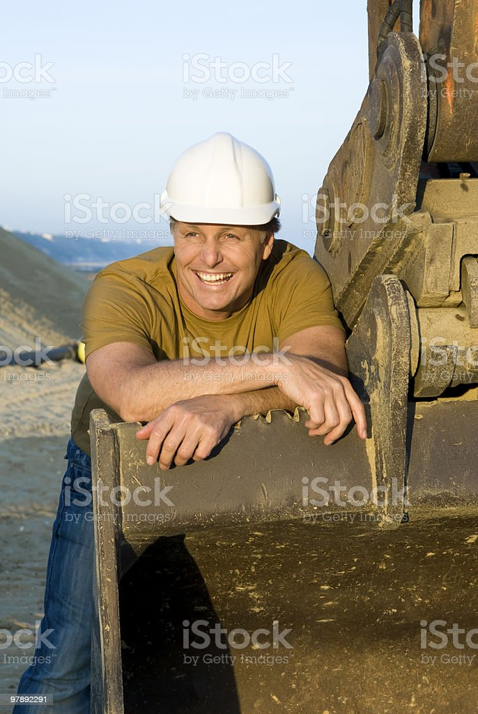 Handsome smiling construction worker. royalty-free stock photo