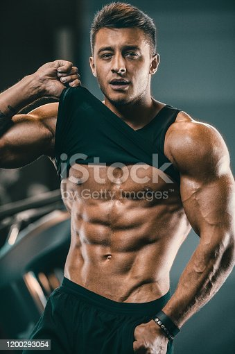 Handsome strong athletic men pumping up muscles workout fitness and bodybuilding concept background - muscular bodybuilder fitness men doing arms abs back exercises in gym naked torsoHandsome strong athletic men pumping up biceps muscles workout fitness and bodybuilding concept background - muscular bodybuilder fitness men doing arms exercises in gym naked torso