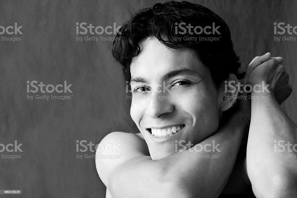 Handsome Student Athlete in B&W Portrait royalty-free stock photo