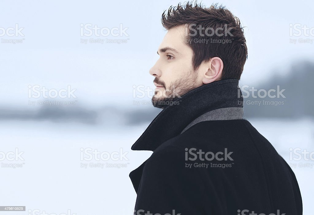 Handsome stylish man outdoor portrait stock photo