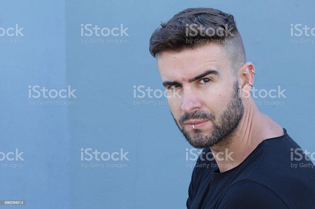 Handsome stylish man with undercut hairstyle royaltyfri bildbanksbilder