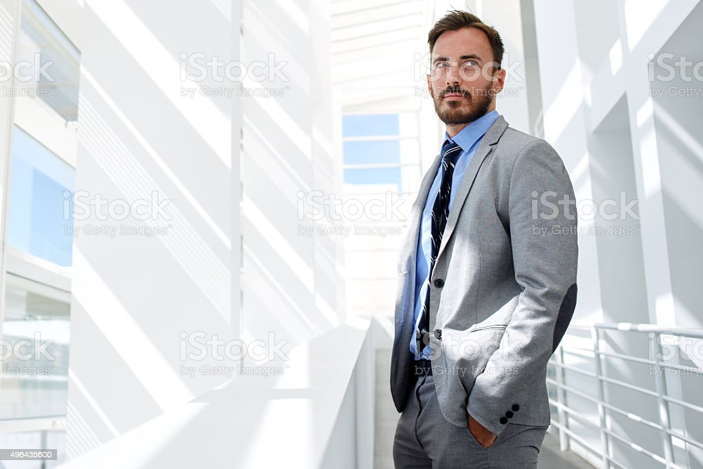 Handsome successful male managing director resting after business meeting stock photo