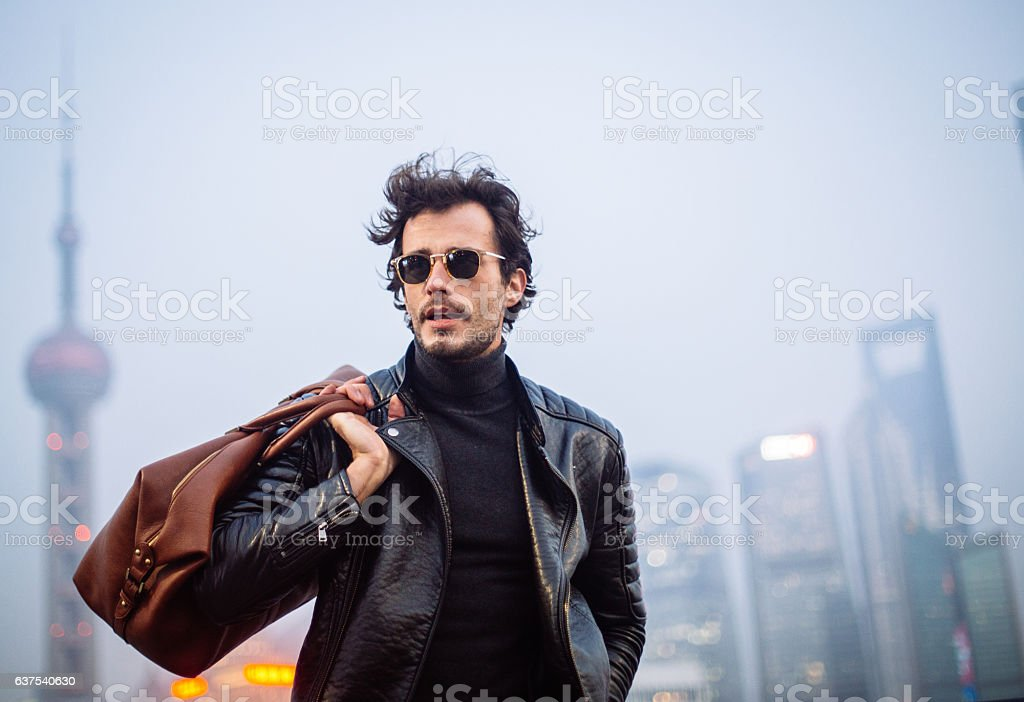 Handsome tourist stock photo