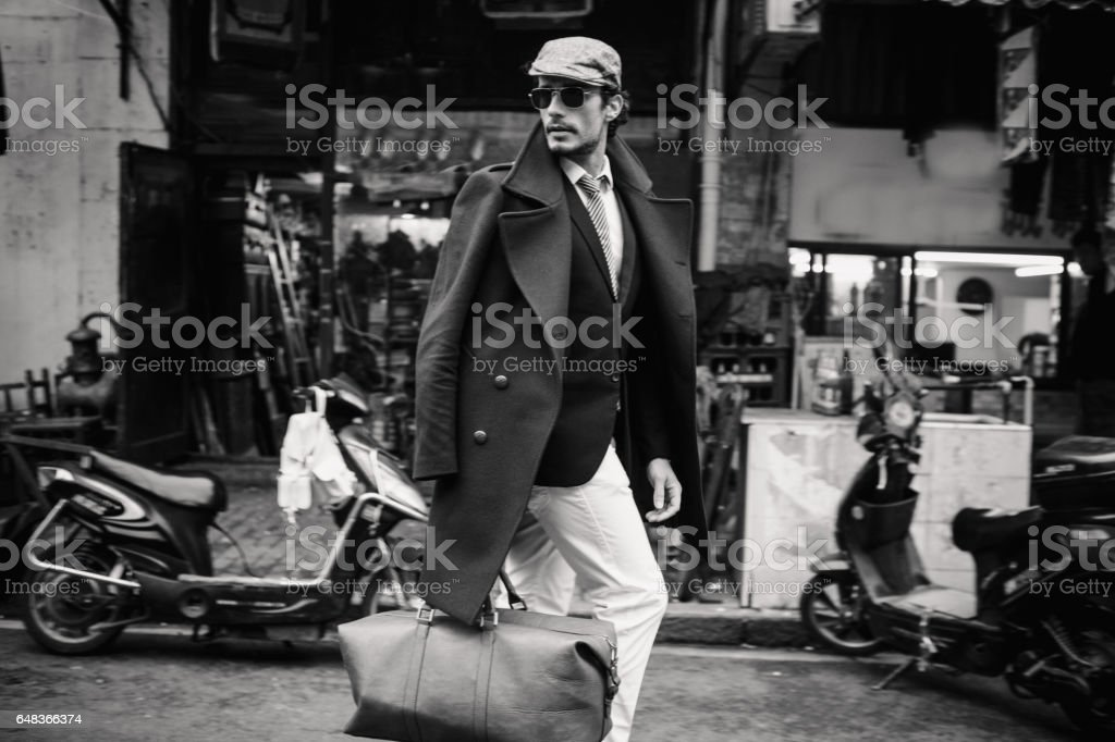 Handsome traveler stock photo