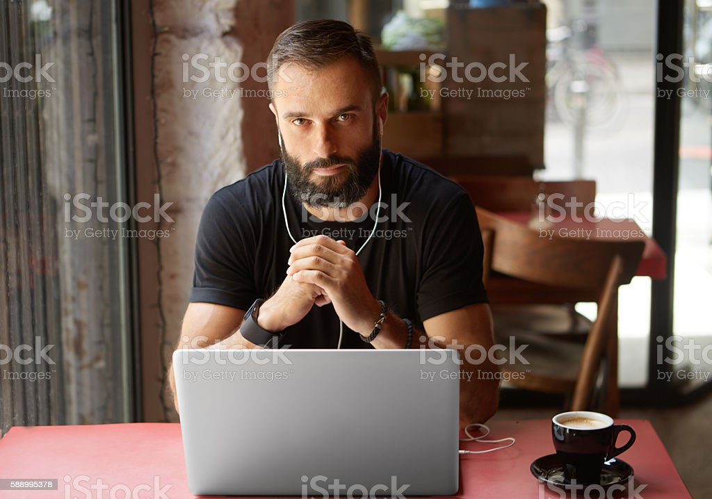 Handsome Young Bearded Businessman Wearing Black Tshirt Working Laptop Urban стоковое фото