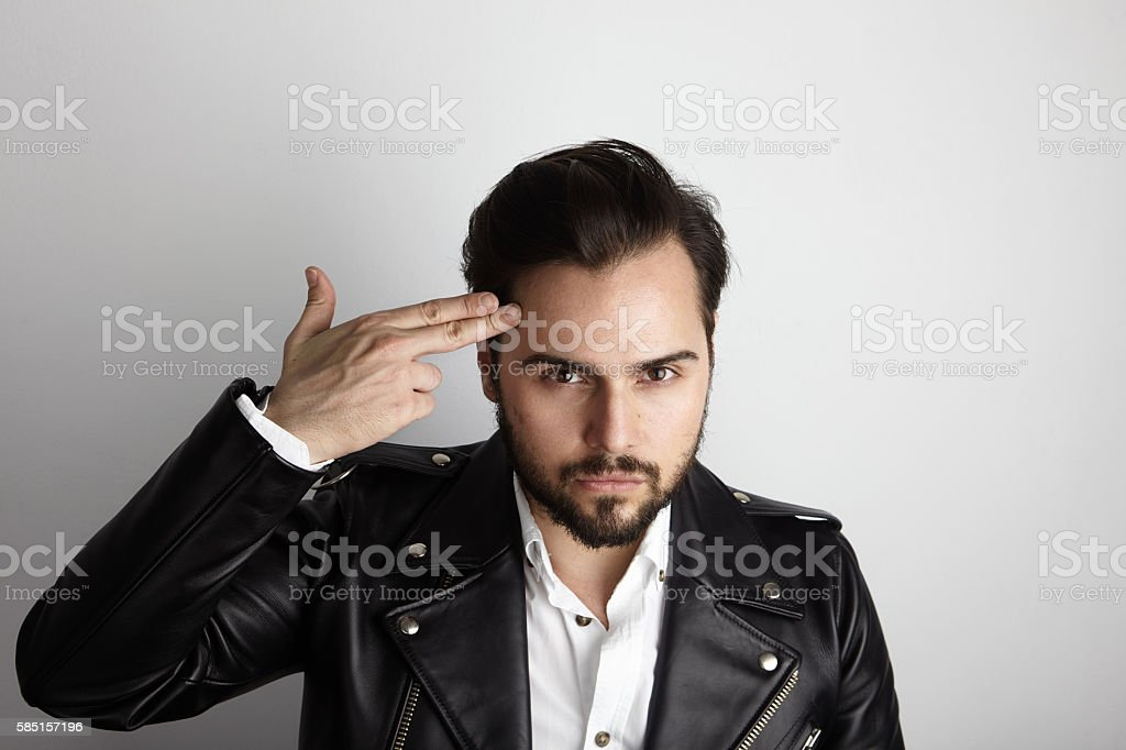 Handsome Young Bearded Man Wearing Stylish Shirt Black Leather Jacket стоковое фото