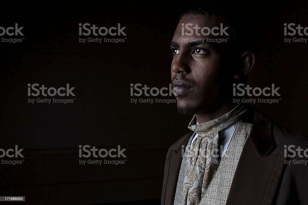 Handsome Young Black Man in Old Fashioned Suit stock photo