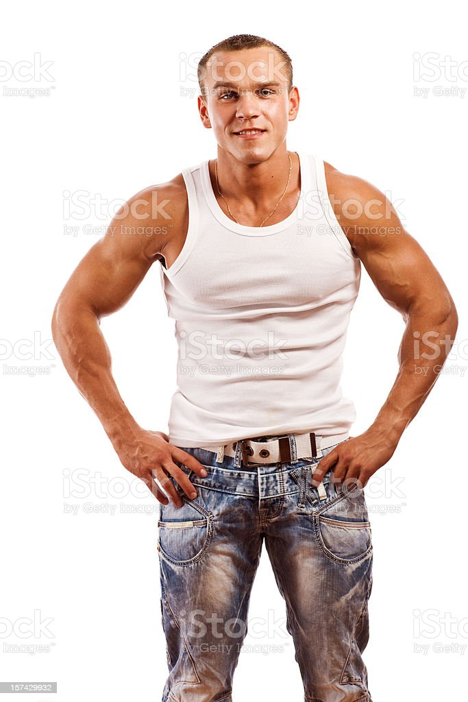 Handsome Young Body Builder on white stock photo