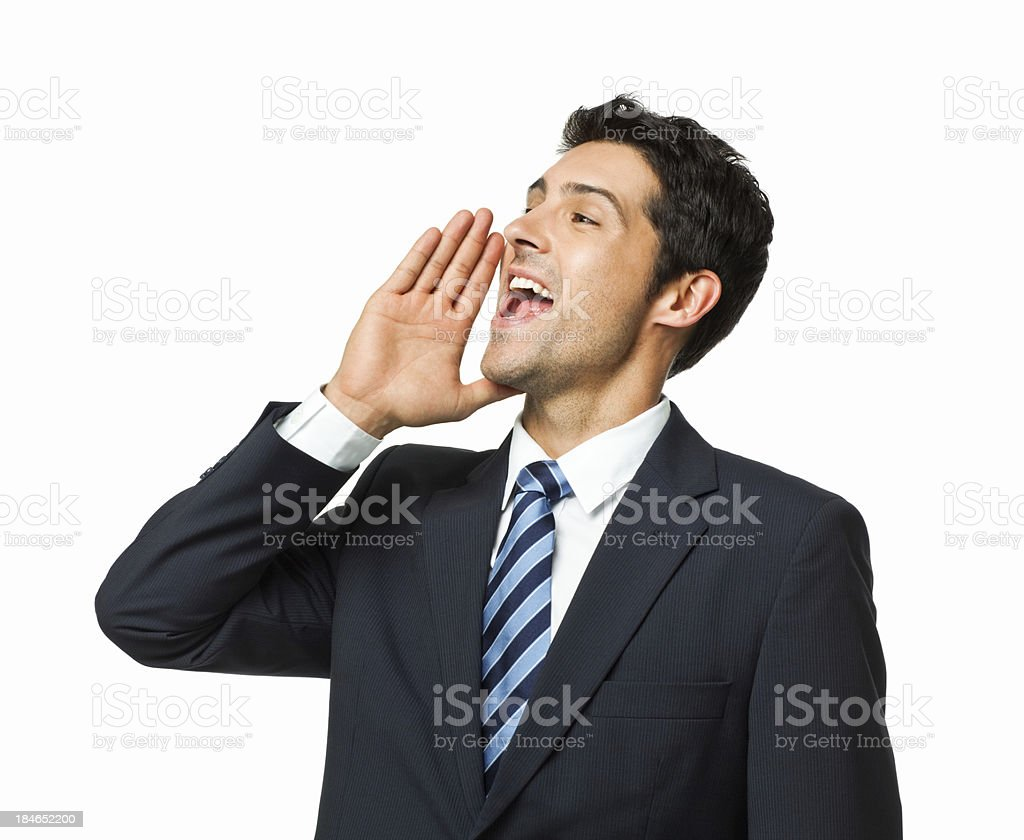 Handsome Young Businessman Shouting - Isolated royalty-free stock photo