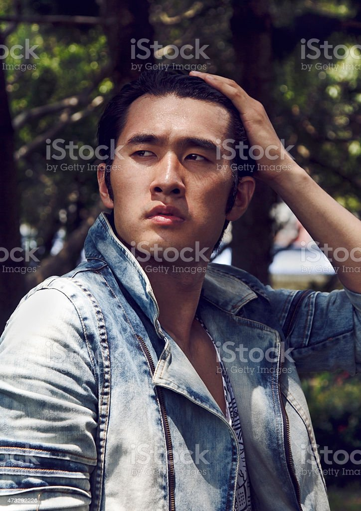 Handsome young Chinese man stock photo