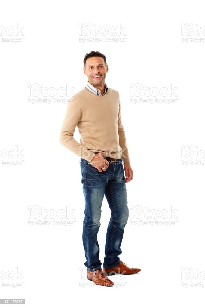 Handsome young fashion model posing on white stock photo