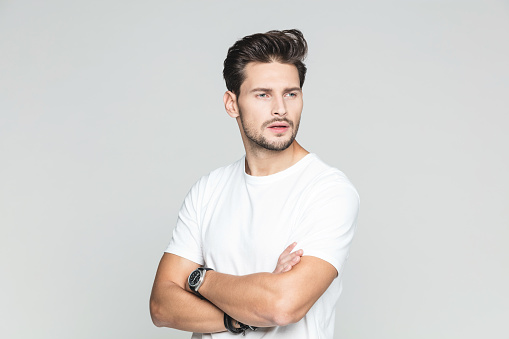 Handsome Young Guy Looking At Copy Space Stock Photo - Download Image Now