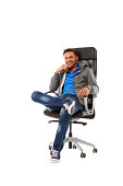 istock Handsome young guy sitting on chair 171264859