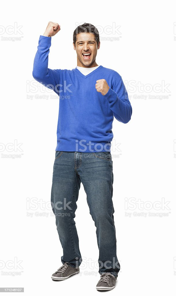 Handsome Young Man Cheering - Isolated royalty-free stock photo