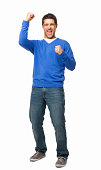 istock Handsome Young Man Cheering - Isolated 171246107