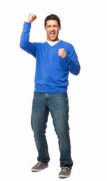 ハンサムな若い男性喜び-絶縁型 - 全身 ストックフォトと画像