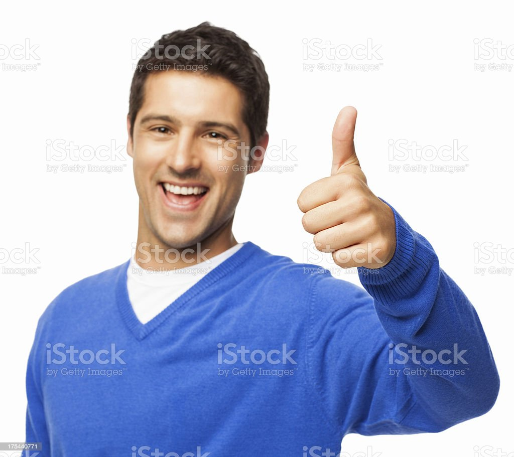 Handsome Young Man Gesturing Thumbs Up - Isolated stock photo