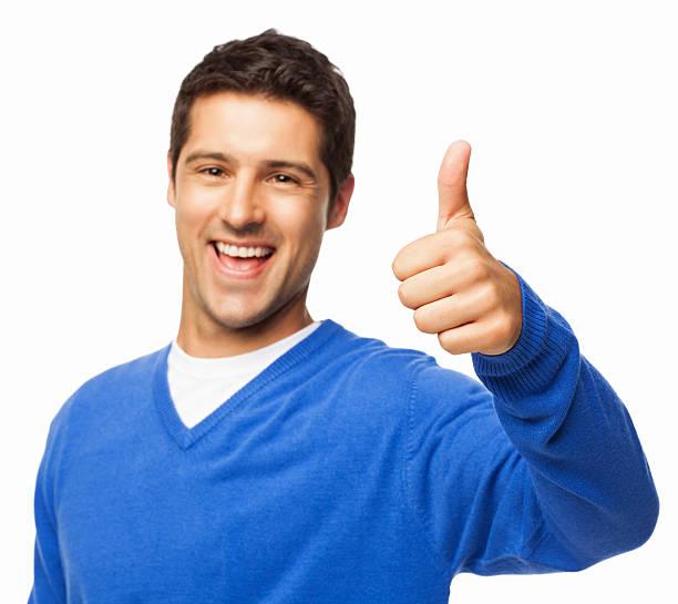 Beau jeune homme gestes Thumbs Up-isolé - Photo