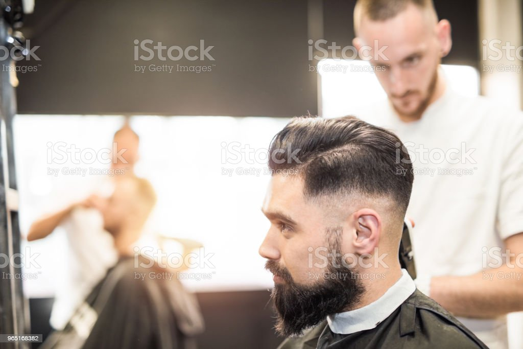 Handsome young man getting a haircut. royalty-free stock photo