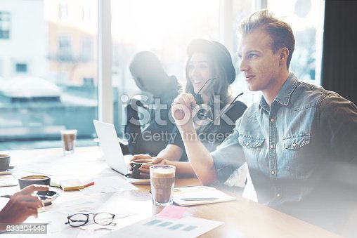 istock Handsome young man in meeting at office 833304440