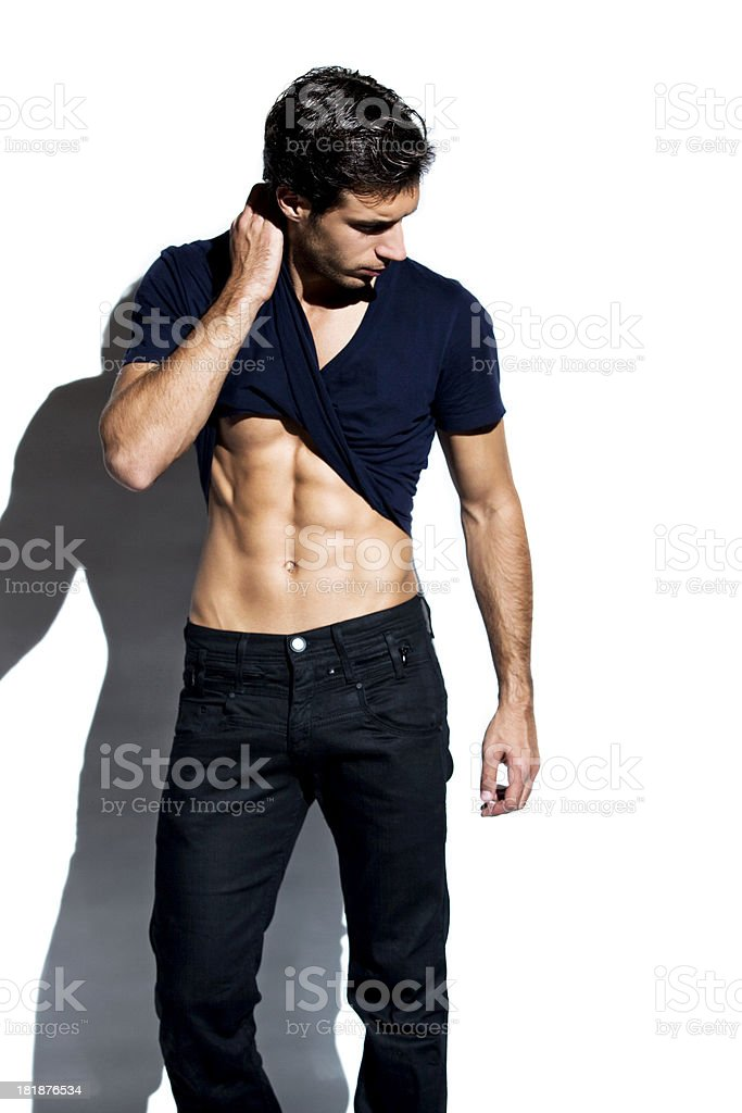 Handsome young man isolated over white stock photo