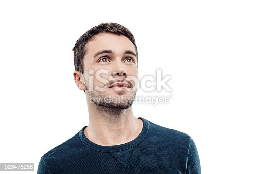 istock Handsome young man on white background 523478288