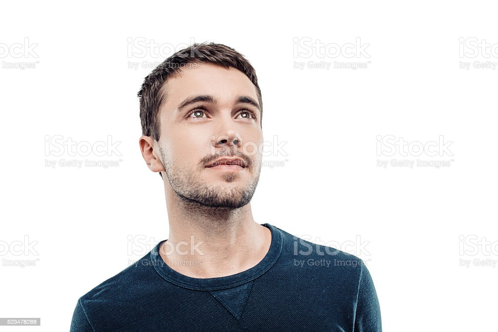 Handsome young man on white background stock photo