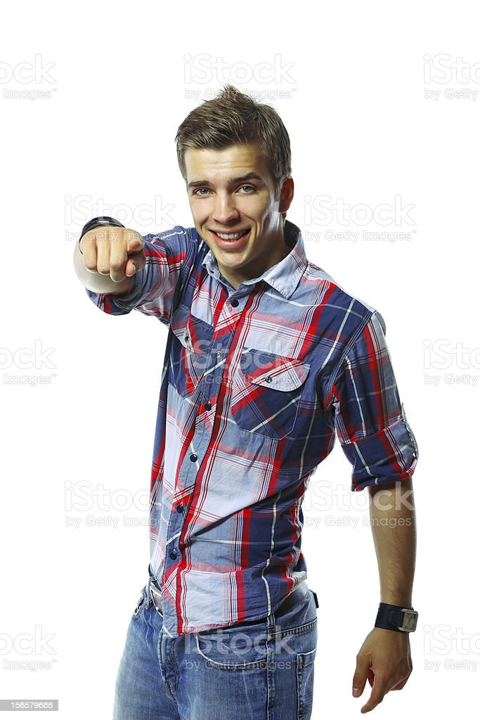 Handsome young man pointing at you royalty-free stock photo
