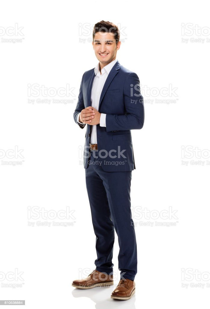Handsome young man posing on white background. stock photo