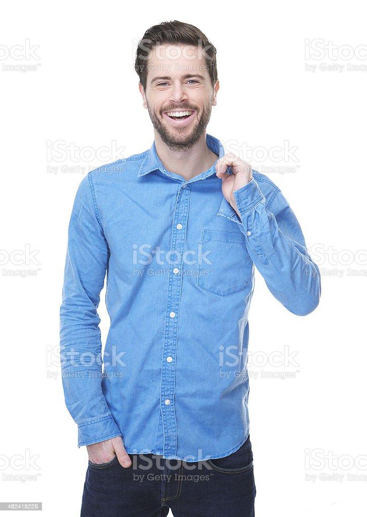60b7696005 Bel Giovane Uomo Sorridente In Camicia Blu - Fotografie stock e ...