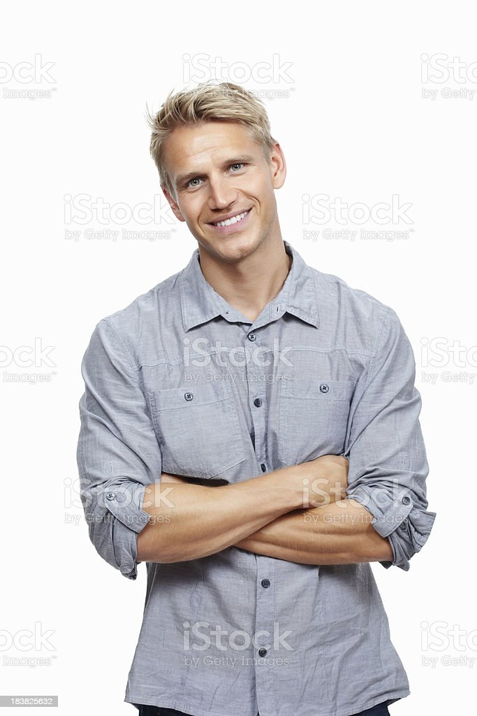 Handsome young man smiling royalty-free stock photo