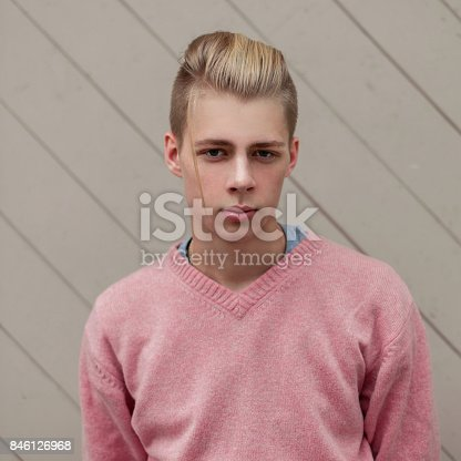 846124694 istock photo Handsome young man with a hairstyle in a pink sweater near a wooden wall 846126968