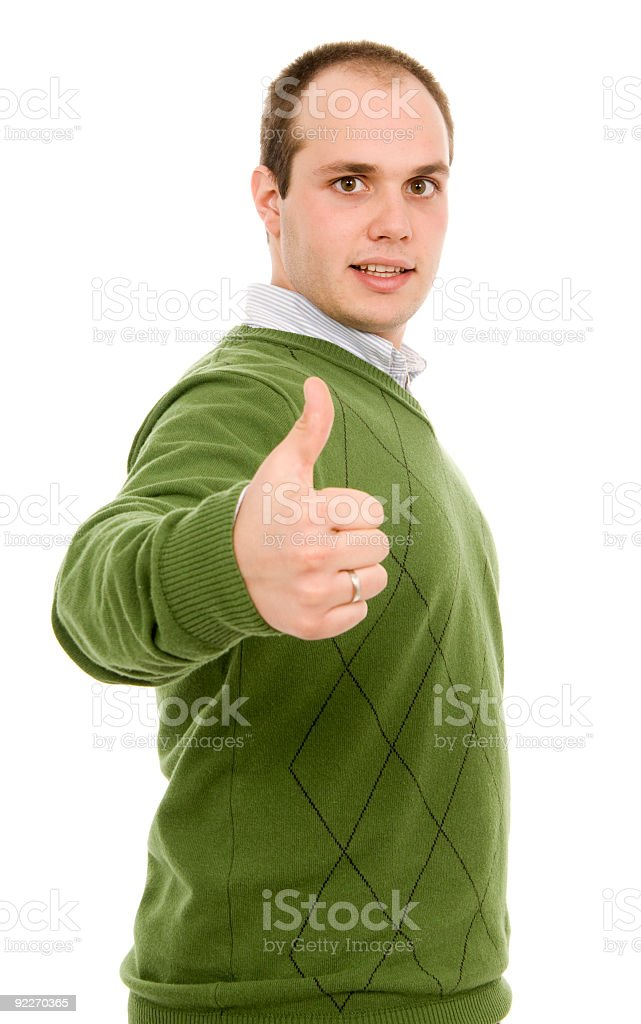 handsome young man, with a thumbs up gestur royalty-free stock photo