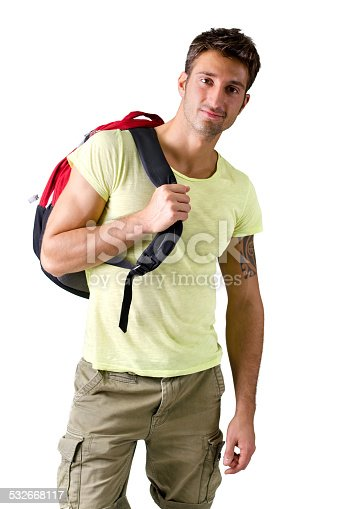 834639402istockphoto Handsome young man with backpack, isolated on white 532668117
