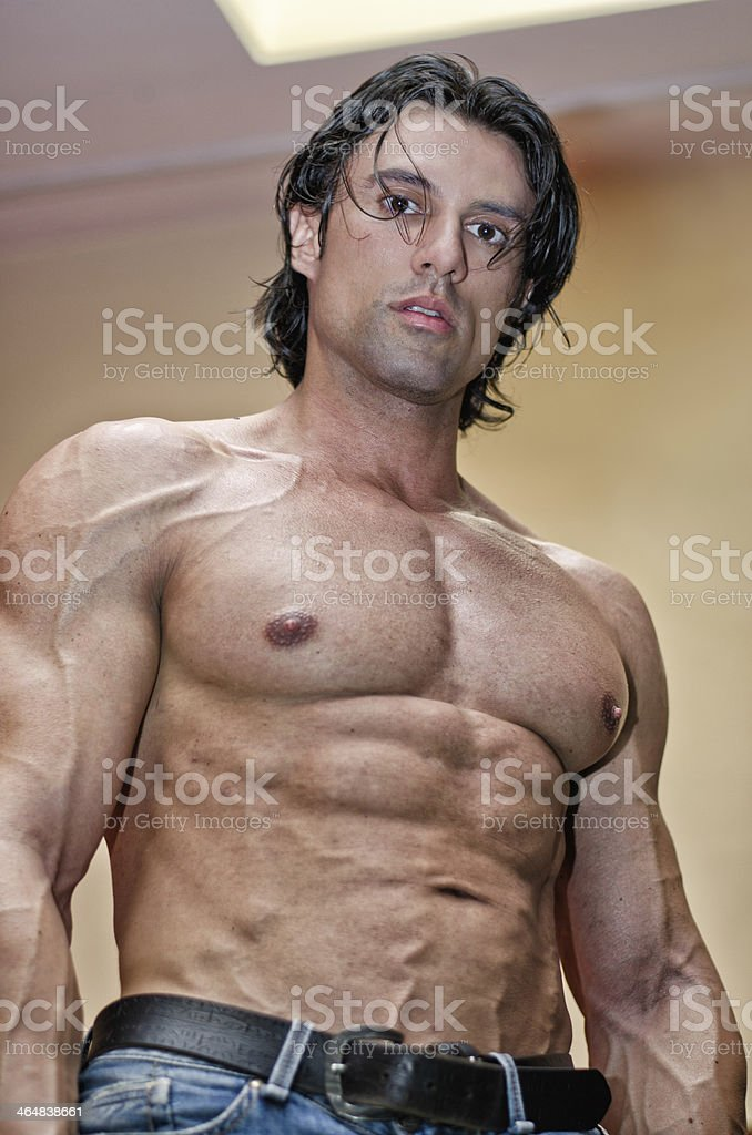 Handsome Young Man With Muscular Body Naked Seen From Below Stock ...